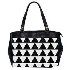 Triangle2 Black Marble & White Linen Office Handbags (2 Sides)