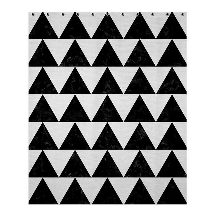 TRIANGLE2 BLACK MARBLE & WHITE LINEN Shower Curtain 60  x 72  (Medium)