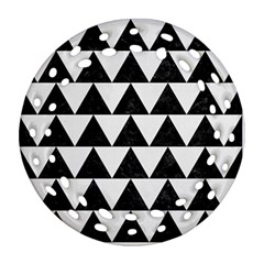 Triangle2 Black Marble & White Linen Round Filigree Ornament (two Sides)