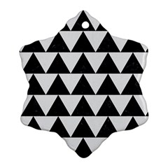 Triangle2 Black Marble & White Linen Snowflake Ornament (two Sides)