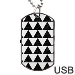 Triangle2 Black Marble & White Linen Dog Tag Usb Flash (one Side)