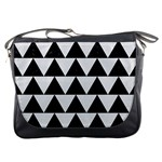 TRIANGLE2 BLACK MARBLE & WHITE LINEN Messenger Bags Front
