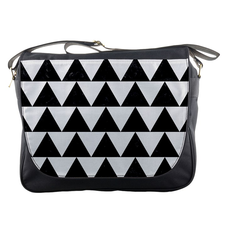 TRIANGLE2 BLACK MARBLE & WHITE LINEN Messenger Bags
