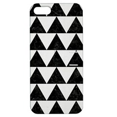 Triangle2 Black Marble & White Linen Apple Iphone 5 Hardshell Case With Stand