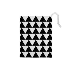 Triangle2 Black Marble & White Linen Drawstring Pouches (small)