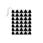TRIANGLE2 BLACK MARBLE & WHITE LINEN Drawstring Pouches (Small)  Back