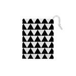 TRIANGLE2 BLACK MARBLE & WHITE LINEN Drawstring Pouches (XS)  Front