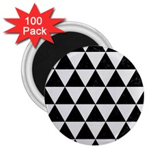 Triangle3 Black Marble & White Linen 2 25  Magnets (100 Pack)