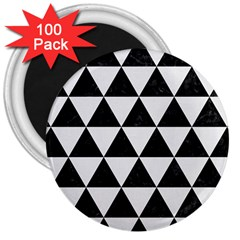 Triangle3 Black Marble & White Linen 3  Magnets (100 Pack)