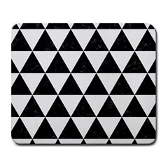 Triangle3 Black Marble & White Linen Large Mousepads