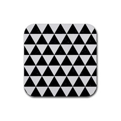 Triangle3 Black Marble & White Linen Rubber Square Coaster (4 Pack)