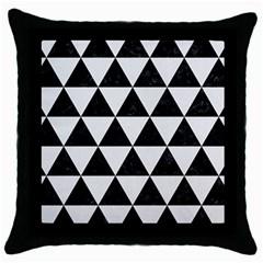 Triangle3 Black Marble & White Linen Throw Pillow Case (black)
