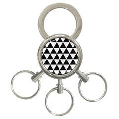Triangle3 Black Marble & White Linen 3 Ring Key Chains