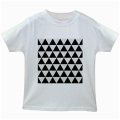 Triangle3 Black Marble & White Linen Kids White T Shirts