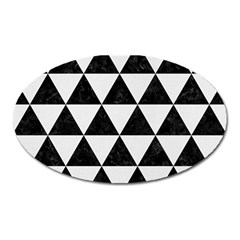 Triangle3 Black Marble & White Linen Oval Magnet