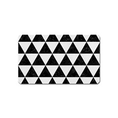 Triangle3 Black Marble & White Linen Magnet (name Card)