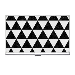 Triangle3 Black Marble & White Linen Business Card Holders
