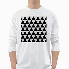Triangle3 Black Marble & White Linen White Long Sleeve T Shirts