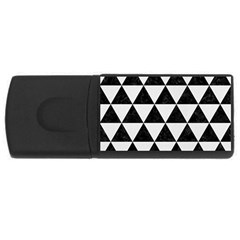 Triangle3 Black Marble & White Linen Rectangular Usb Flash Drive