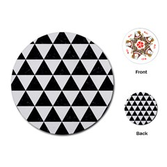 Triangle3 Black Marble & White Linen Playing Cards (round)