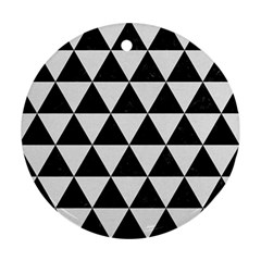 Triangle3 Black Marble & White Linen Round Ornament (two Sides)