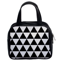 Triangle3 Black Marble & White Linen Classic Handbags (2 Sides)
