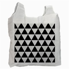 Triangle3 Black Marble & White Linen Recycle Bag (one Side)