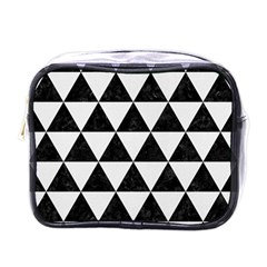 Triangle3 Black Marble & White Linen Mini Toiletries Bags