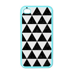 Triangle3 Black Marble & White Linen Apple Iphone 4 Case (color)