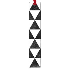 Triangle3 Black Marble & White Linen Large Book Marks