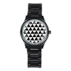 Triangle3 Black Marble & White Linen Stainless Steel Round Watch