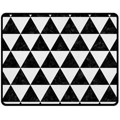 Triangle3 Black Marble & White Linen Double Sided Fleece Blanket (medium)