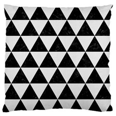Triangle3 Black Marble & White Linen Large Flano Cushion Case (two Sides)