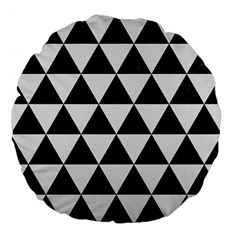 Triangle3 Black Marble & White Linen Large 18  Premium Flano Round Cushions
