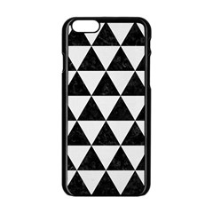 Triangle3 Black Marble & White Linen Apple Iphone 6/6s Black Enamel Case