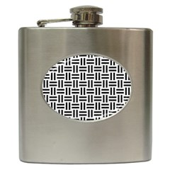 Woven1 Black Marble & White Linen Hip Flask (6 Oz)