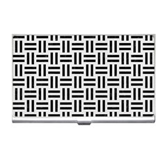 Woven1 Black Marble & White Linen Business Card Holders
