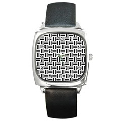 Woven1 Black Marble & White Linen Square Metal Watch