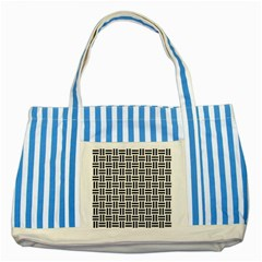Woven1 Black Marble & White Linen Striped Blue Tote Bag