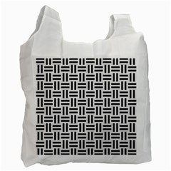 Woven1 Black Marble & White Linen Recycle Bag (one Side)