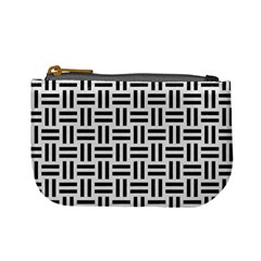 Woven1 Black Marble & White Linen Mini Coin Purses