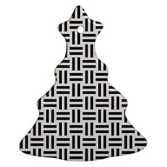 Woven1 Black Marble & White Linen Christmas Tree Ornament (two Sides)