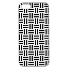 Woven1 Black Marble & White Linen Apple Seamless Iphone 5 Case (clear)