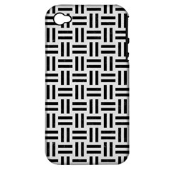 Woven1 Black Marble & White Linen Apple Iphone 4/4s Hardshell Case (pc+silicone)