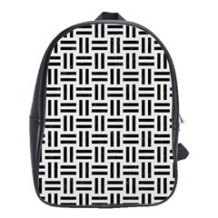 Woven1 Black Marble & White Linen School Bag (xl)