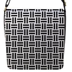 Woven1 Black Marble & White Linen Flap Messenger Bag (s)