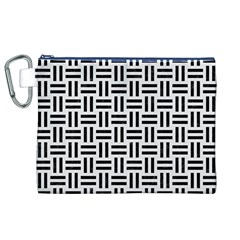 Woven1 Black Marble & White Linen Canvas Cosmetic Bag (xl)