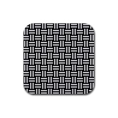 Woven1 Black Marble & White Linen (r) Rubber Square Coaster (4 Pack)