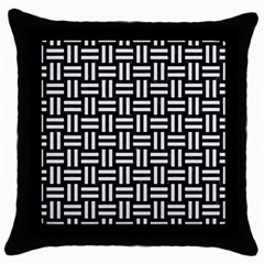 Woven1 Black Marble & White Linen (r) Throw Pillow Case (black)