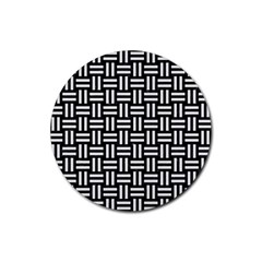 Woven1 Black Marble & White Linen (r) Rubber Round Coaster (4 Pack)